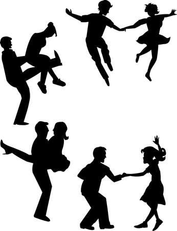 bailarinas: saltar jive y se lamentan estilos de baile Vectores