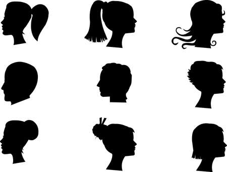 long straight hair: male and female heads in silhouette