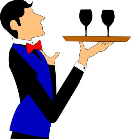 bartender: SERVEUR AVEC PLATEAU DE TRANSPORT DES LUNETTES DE VIN Illustration