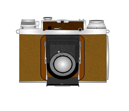 bellows camera in retro style over white