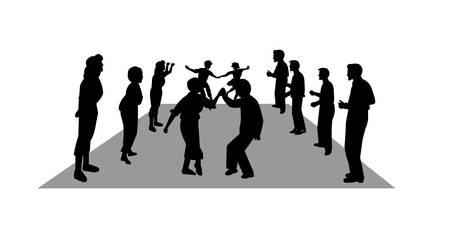 teenage couple: stroll dancers in silhouette