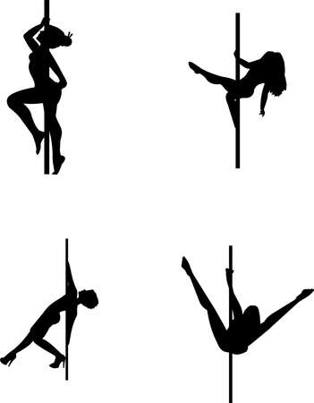 pole dancing in silhouette Stock Vector - 16146401