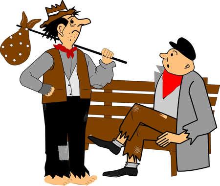 homeless men chatting on bench  Ilustração