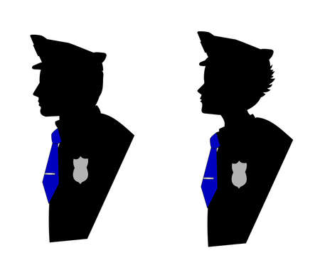 MALE AND FEMALE POLICE OFFICERS IN SILHOUETTE Stock Illustratie