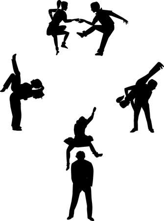 swinging to the oldies in silhouette dancers Vector
