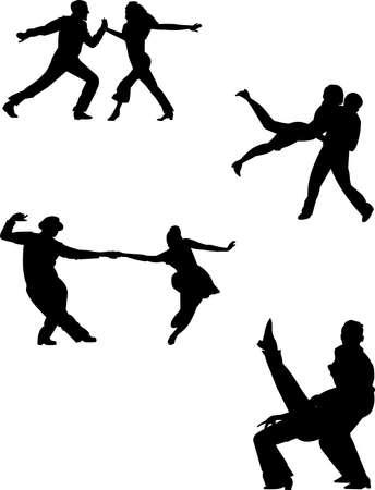 kunt u silhouetten dansen Stock Illustratie
