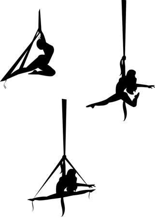 akrobatik: aerial silk Tanzen in der Silhouette