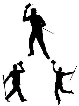 tik dansers met stokken en hoge hoeden Stock Illustratie