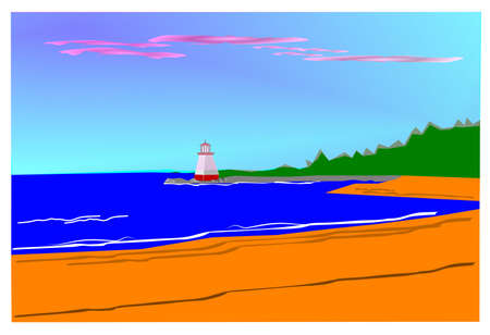 beach with lighthouse Vector