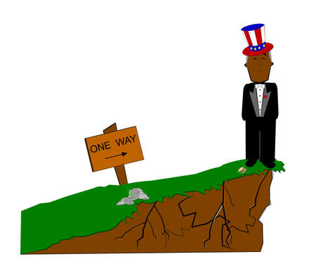 leap of faith off the fiscal cliff Vector