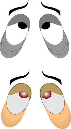 droopy: tired eyes over white Illustration