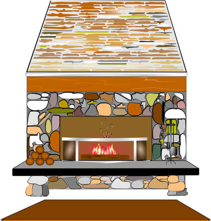 modern living room: rustic old stone fireplace over white Illustration