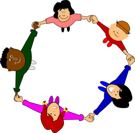 children holding hands: unity concept with children holding hands