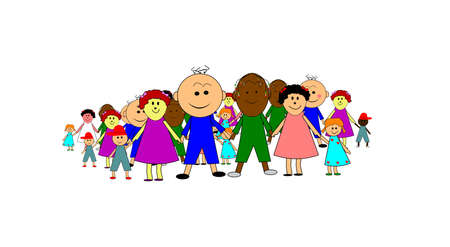 group of children holding hands Stock Vector - 16692570