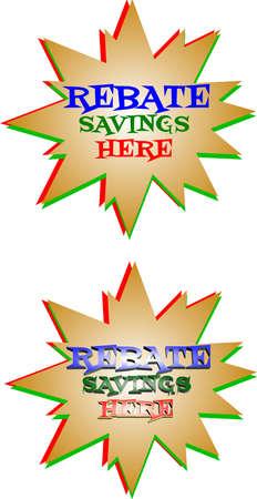 rebate: rebate savings star burst