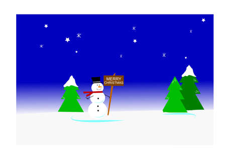 snowman with christmas message  Vector