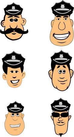 facial features: policemen in hats set