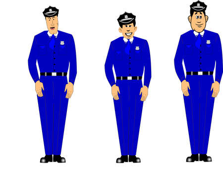 policemen in blue uniforms at attention Vector