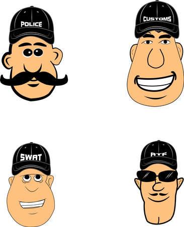 policia caricatura: agentes del orden p�blico en el b�isbol gorras Vectores