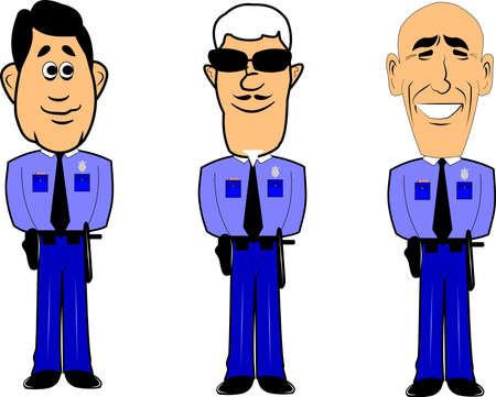 seniority: policemen at attention