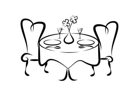 Table pour deux Banque d'images - 17207914
