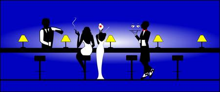 stool: two women at active bar at night  Illustration