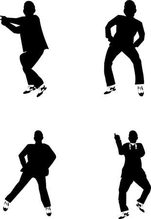trendy male: dancing silhouettes