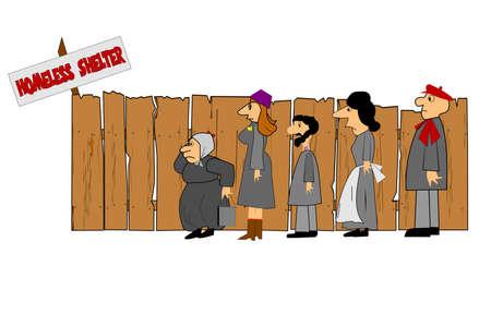 poor people: homeless shelter  Illustration