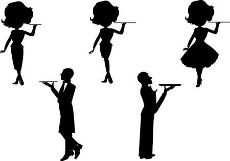 waiter and waitress set in silhouette 일러스트