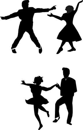 hand jive dancing in silhouette from fifties