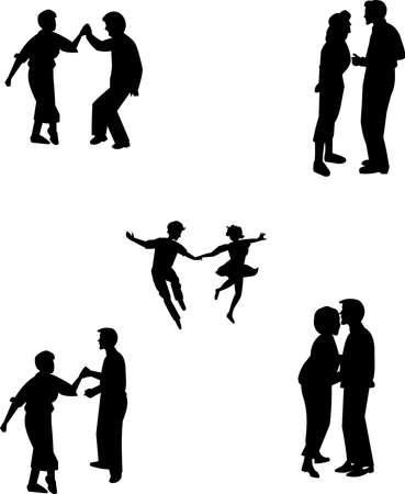 teens in various poses in silhouette dancing 向量圖像