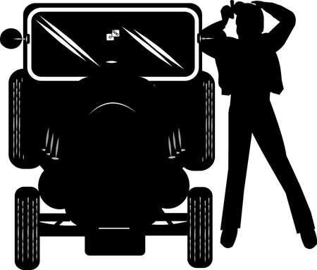 retrovisor: adolescente engrasador de cincuenta peinarse en el espejo retrovisor de su hotrod