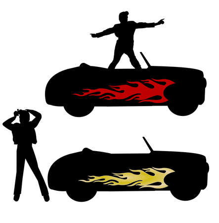 flaming hot rod from fifties in silhouettes  Vector