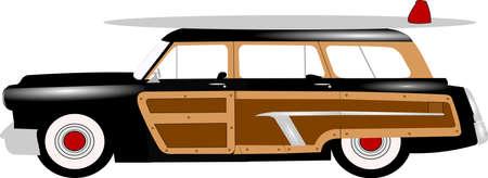 woody station wagon populair in de jaren vijftig voor surfers Stock Illustratie