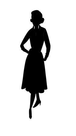 bobbed: lady in silhouette posing from fifties