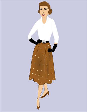 fifties vogue lady posing  Illustration