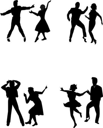 jive: teen dancers in silhouette from fifties era  Illustration