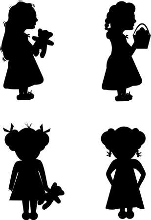 pigtails: little girl set for easter and holidays in silhouette Illustration