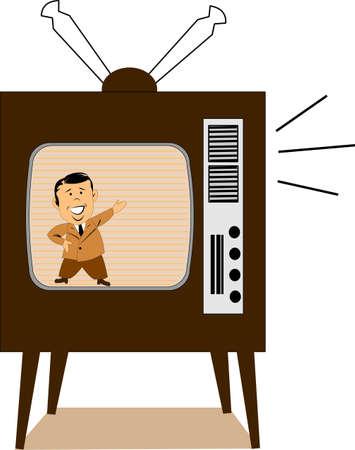 retro televison with presenter