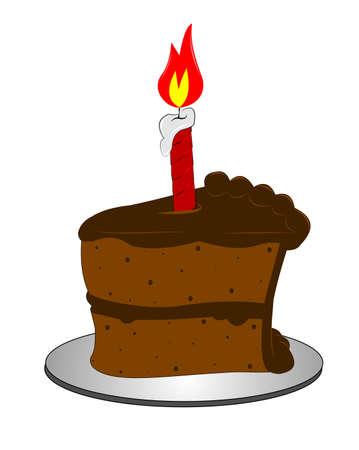 porcion de pastel: pedazo de torta de chocolate con la vela