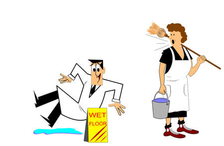 men at work sign: wet floors  Illustration