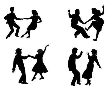retro jaren vijftig dansers in silhouet Stock Illustratie