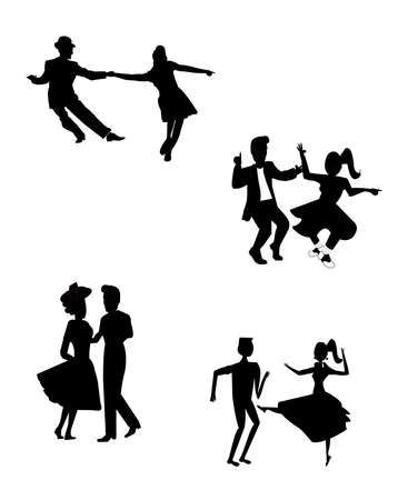 jive: retro dancing teens in silhouette Illustration