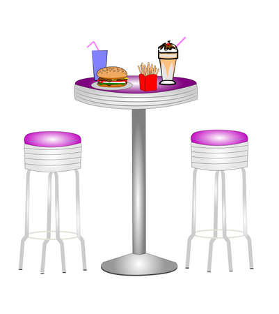 diner: diner table with stools Illustration