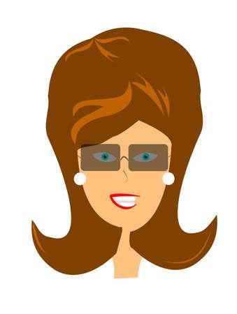 retro lady head with sunglasses  Иллюстрация