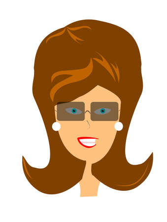 puffy: retro lady head with sunglasses  Illustration