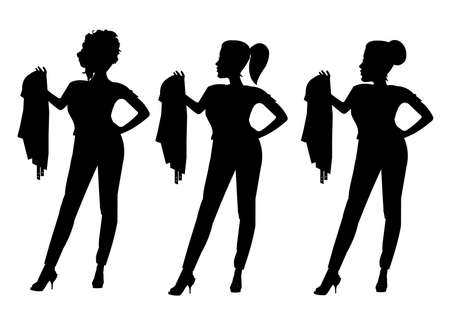 leather jacket: retro chicks holding leather jacket in silhouette Illustration