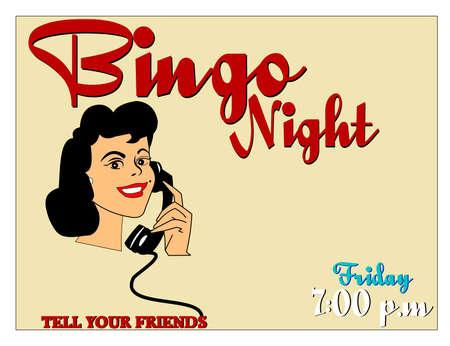 bingo night invitation with copy space Ilustrace