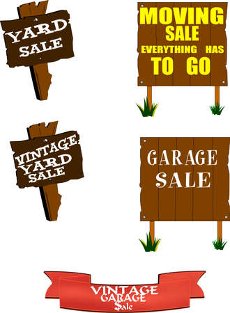 variety of yard sale signs set photo