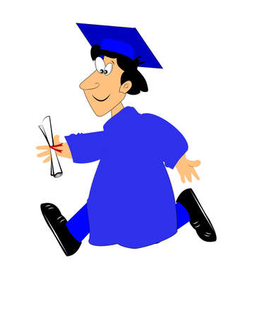 college students on campus: boy running with his diploma in gown and hat